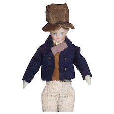 Antique German Parian Doll House Man Doll Original Clothes Top Hat
