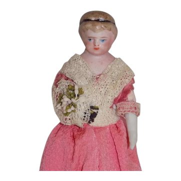 """Antique German 4"""" Doll House Doll Parian in Pink dress"""