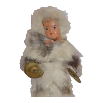 Antique German Celluloid Snow Baby Doll Mechanical Clapper Cymbals Fur Covering