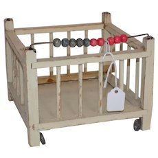 Old Wood German All Bisque Baby Doll Crib
