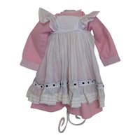 Antique Pink Cotton Gingham Apron Dress German French Doll