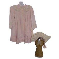 Vintage Large Baby Child Children's Pink Robe Jacket & Bonnet Silk