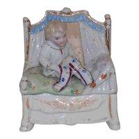 Antique German Porcelain Fairing Trinket Box Boy Bed Pajamas