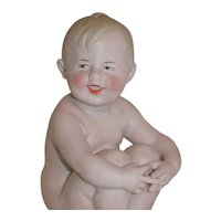 Antique German Gebruder Heubach Action Baby Piano Baby Doll Marked