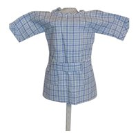 NEW Dollmasters Theriaults  Doll Dress Blue Plaid Print  French German