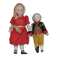 Pair Brother Sister Antique German All Bisque Doll House Dolls