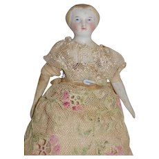 Beautiful Antique German Parian Doll House Doll Original Clothes Gown