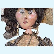 OOAK Vintage Papier Paper Mache Artist Doll #1 Brunette Flapper Lady Doll