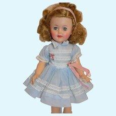 "Cute 1950's Ideal Shirley Temple Doll 15"" tall All Original"