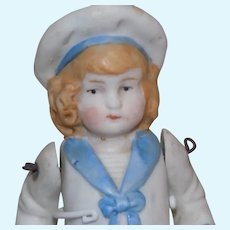 """Antique 3 1/2""""German All Bisque Hertwig Molded Clothes Sailor Doll"""