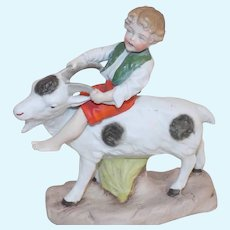 Antique German Hertwig Boy on Goat Molded Clothes Figurine