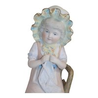 Antique German Girl In Chair Knitting Figurine Doll
