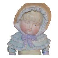 Antique German Figurine Bonnet Head Holding Fan Little Girl Doll