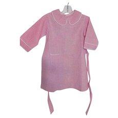 Old Pink Gingham Cotton Dress Large Doll Child Antique