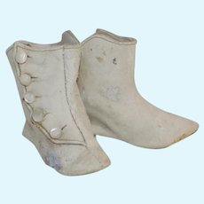 Antique German French Fashion Doll Boots Leather