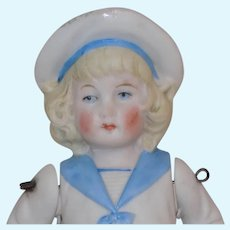 "Antique 5 1/2"" German All Bisque Sailor Doll Hertwig Molded Clothes"
