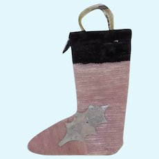 Antique Miniature Chenille Christmas Stocking French German Doll Pink