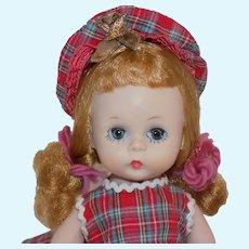 Sweet Vintage BKW Madame Alexander wendy Alexander-kins Doll All Original Plaid Outfit