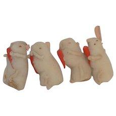 Vintage Cotton Batting Spun Cotton Bunny Easter Rabbits Miniature Japan