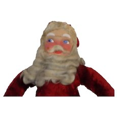 Vintage 1930's Plush Santa Claus Doll Christmas Cloth All Original Mask Face