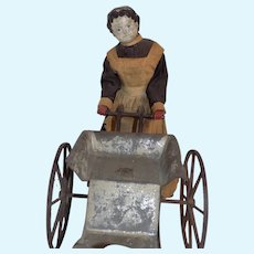 Antique German Papier Mache German Doll Superior Doll Pushing Tin Carriage Articulated Greiner