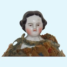 Early Antique German High Brow China Head Doll TLC