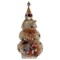 Vintage Miniature Japan Christmas Tree Bottle Brush Doll Size Mercury Bulbs