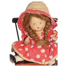 Antique German Painted Bisque Character Toddler Baby Doll w/Chair All Original
