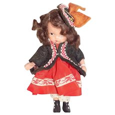 """Vintage Bisque 5"""" Jointed Nancy Ann Storybook Doll #123 One Two Button My Shoe"""