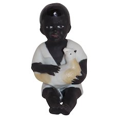 Black Americana Piano Baby Figurine Boy with Chicken Antique German BIsque