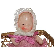 Antique German Painted Bisque Doll House Baby doll with Basket