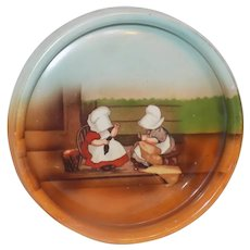 Antique Royal Bayreuth Sunbonnet Babies Baby Plate Dish Wednesday Mending
