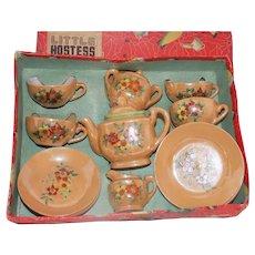 Vintage Child's Toy Tea Set~Tan Lusterware Floral Poinsettia Hand Painted~JAPAN~18 pc Nagoya