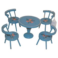 Vintage Wood Wooden Blue Painted Furniture Table and Chairs Doll House size Miniature Italy