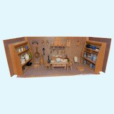 Vintage Doll House Room Box Kitchen Wood German Miniature