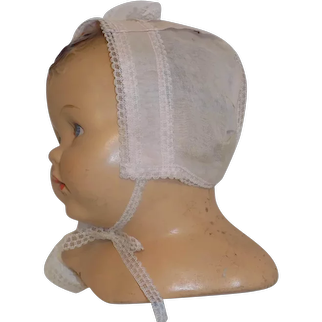 Vintage Pink Organdy Baby Bonnet Large Doll Baby