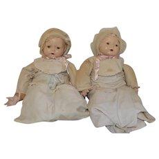 "Composition Dionne Quintuplet Emelie  & Yvonne Doll Dolls 20"""