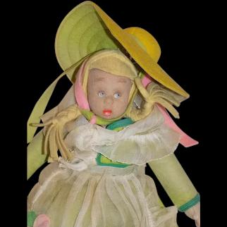 """9"""" Antique Cloth Felt Lenci Doll All Original Mascotte"""