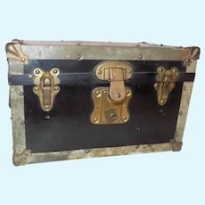 Antique Metal Doll Trunk with Tray All Bisque German French Doll Small Size