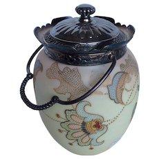 Victorian Mount Washington Crown Milano Burmese Silver Plate Satin Glass