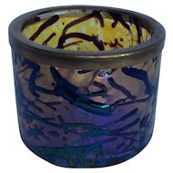 Victorian Art Glass Bohemian Kralik Amethyst Silver Plate Rim