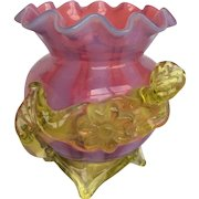Victorian Art Glass Opalescent Cranberry Vaseline Applied Vase