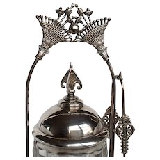 Victorian Pickle Castor Art Glass Insert Silver Plare
