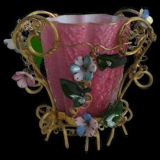 Antique Crackle Art Glass Castor Holder