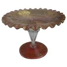 Signed Webb Compote Cranberry Art Glass