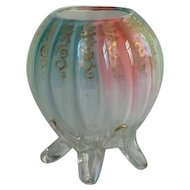 Victorian Rainbow Art Glass Rose Bowl