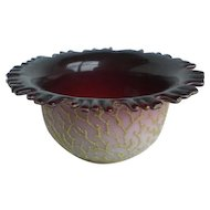 Victorian Peachblow Coralene Art Glass Bowl