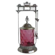 Victorian Cranberry Glass IVT Silver Plate Pickle Castor