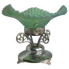 Victorian Opalescent Silver Plate Centerpiece Bride's Basket