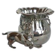 Rare Victorian Figural Silverplate Toothpick Holder Dog